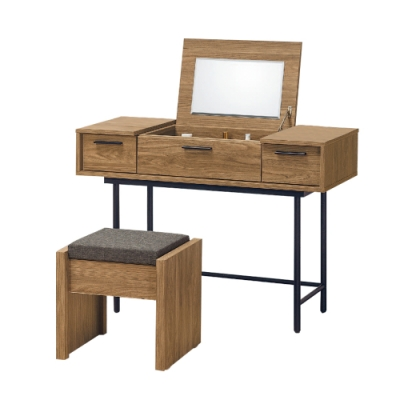 柏蒂家居-摩斯特工業風3.5尺掀鏡台/化妝桌(贈化妝椅)-106x40x76cm