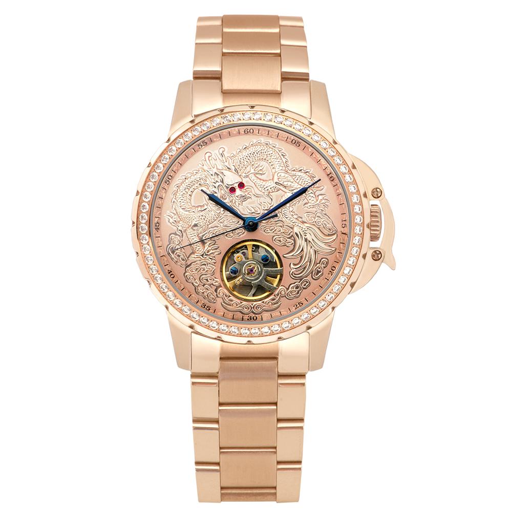 Manlike 曼莉萊克 豪華龍王限量機械錶 玫瑰金 金面 鋼帶