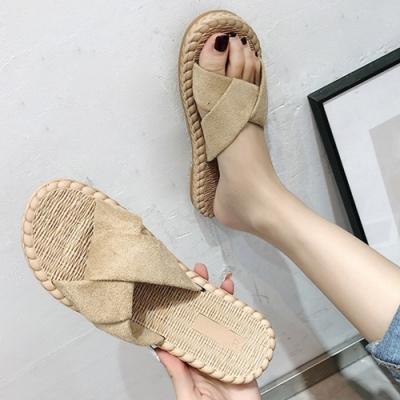 KEITH-WILL時尚鞋館 撩人時尚交叉素面拖鞋-米