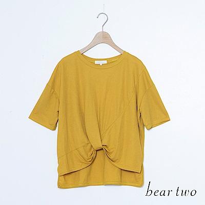 beartwo 前抓褶素造型面上衣(三色)