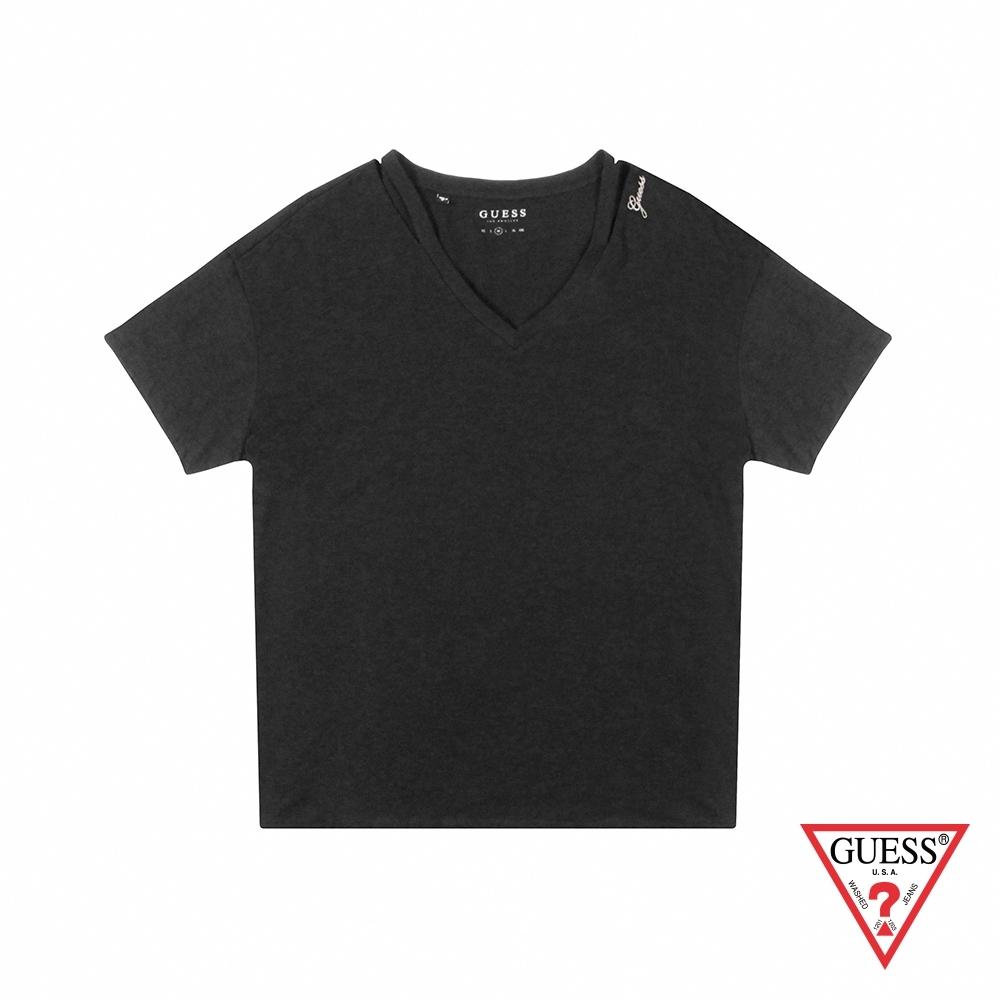 GUESS-女裝-不規則領口素面短T,T恤-黑 原價1790