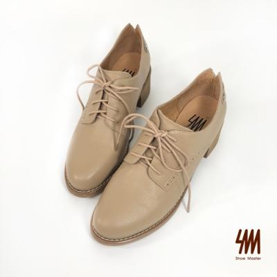 SM-英倫風真皮牛津木紋跟鞋(奶茶棕)
