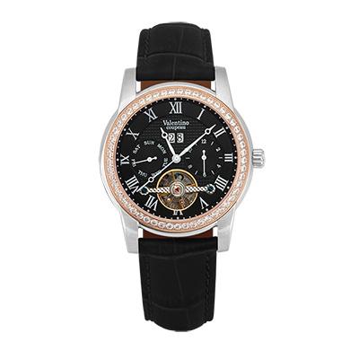 Valentino Coupeau 范倫鐵諾 古柏 閃耀晶橋機械錶 (半玫殻/黑面/黑帶)