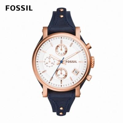 FOSSIL Original Boyfriend 海軍風玫瑰金璨女錶 藍色真皮皮革錶帶 38MM ES3838