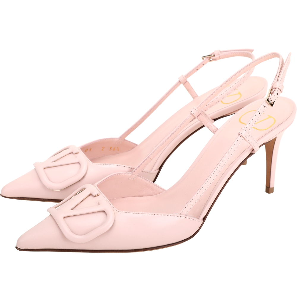 VALENTINO VLogo 字母小牛皮尖頭高跟穆勒鞋/涼鞋(粉色)