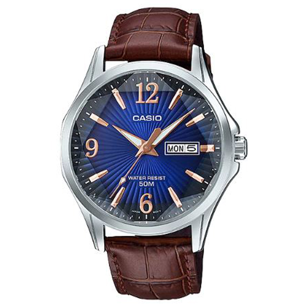 CASIO立體多面切割簡約風格皮帶錶-藍(MTP-E120LY-2A)/47.5mm