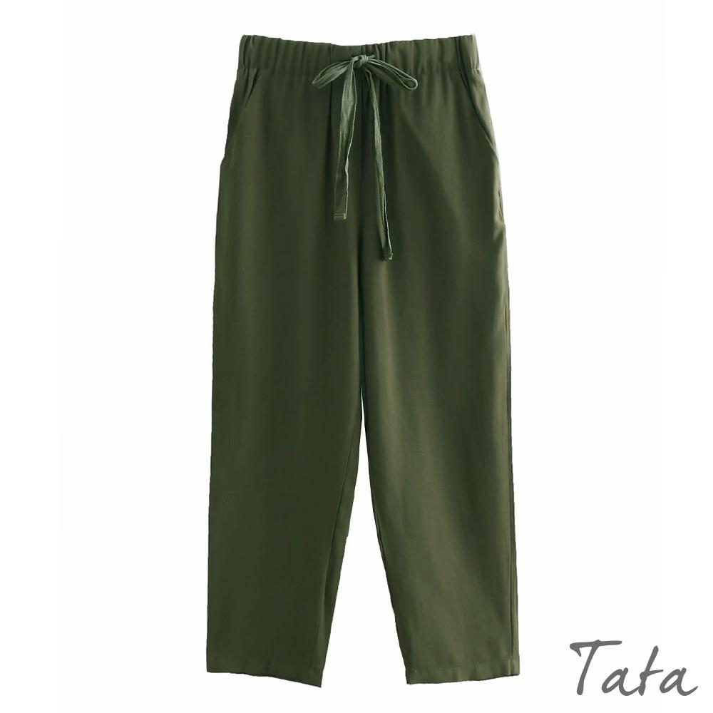 軍綠繫帶鬆緊哈倫褲 TATA