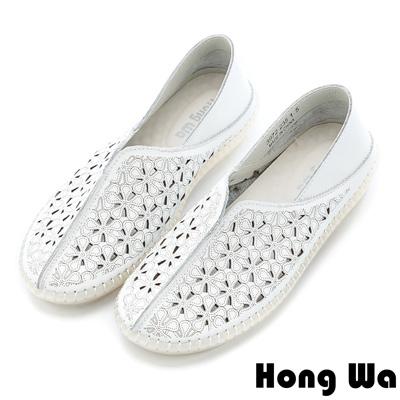 Hong Wa 民俗風雕花沖孔牛皮樂福鞋 - 白