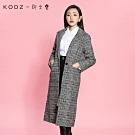 KODZx許允樂-千鳥格紋翻領長版西裝大衣/外套-S.M.L