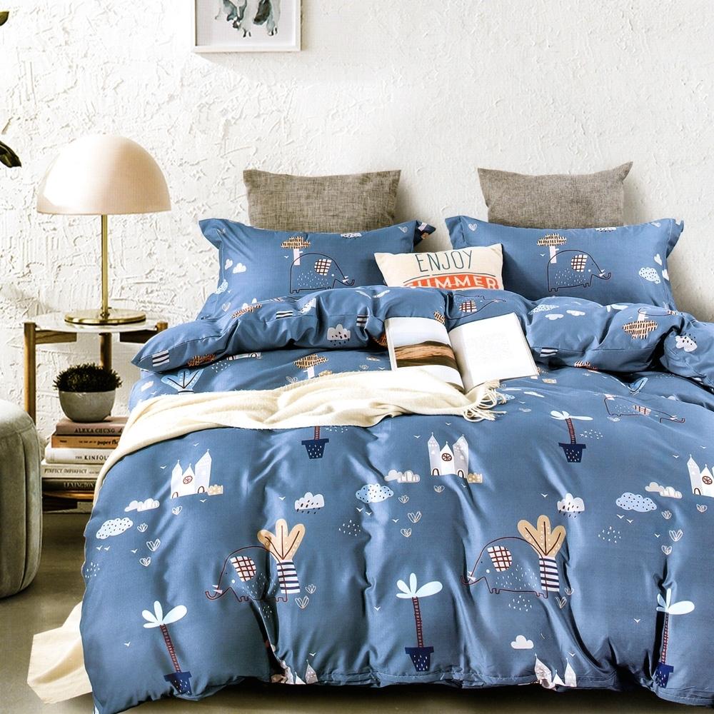 3-HO 雪紡棉 單人床包/枕套 二件組 童話小鎮