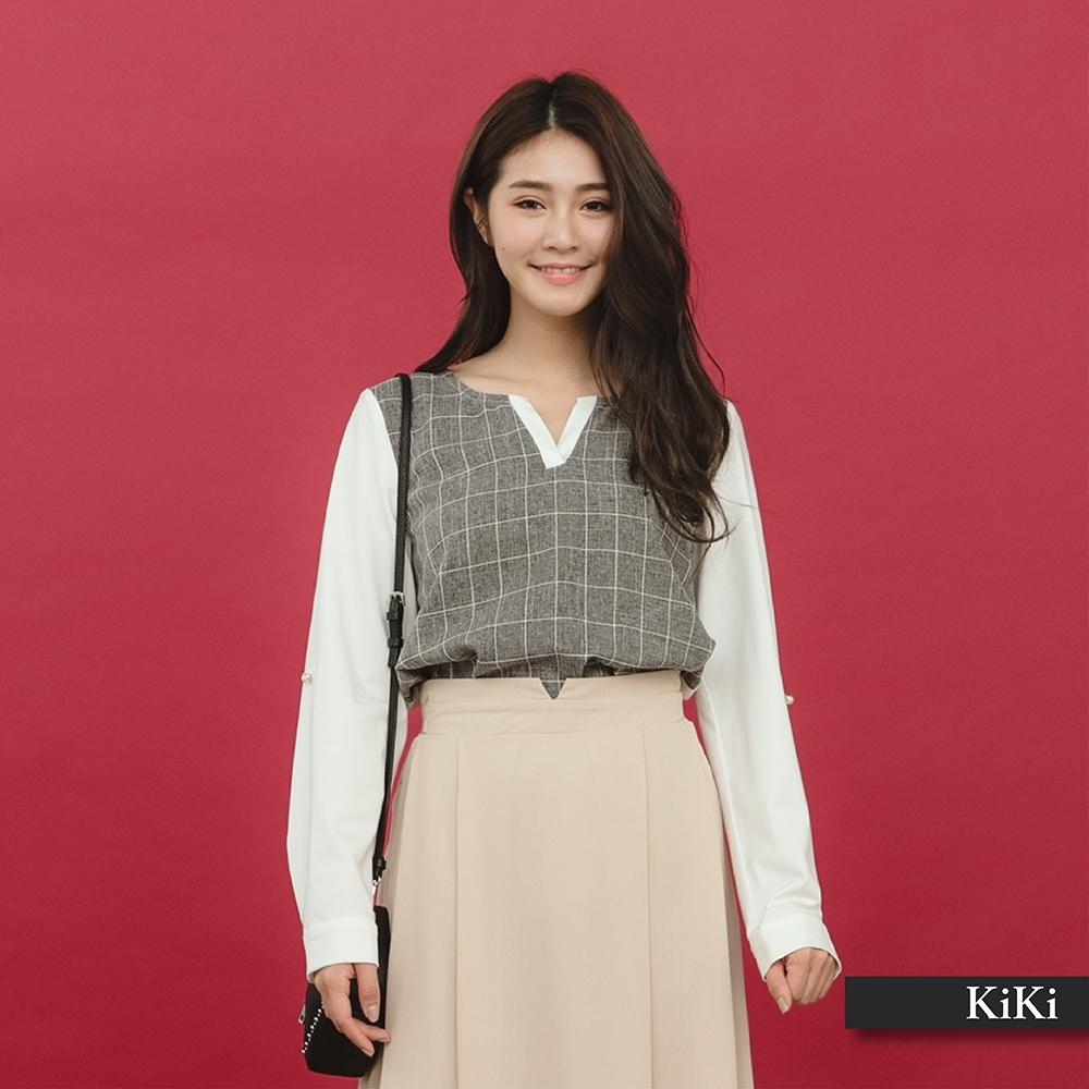 【KiKi】知性V領格紋長袖-襯衫(二色)