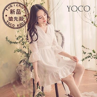 東京著衣-YOCO 純淨少女交叉v領腰綁帶荷葉袖下襬洋裝-S.M.L