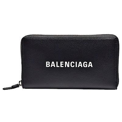BALENCIAGA 經典EVERYDAY系列品牌字母LOGO壓紋小牛皮拉鍊長夾(黑)
