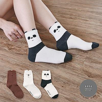 阿華有事嗎 韓國襪子 熊熊立體耳朵中筒襪 韓妞必備卡通襪 正韓百搭純棉襪