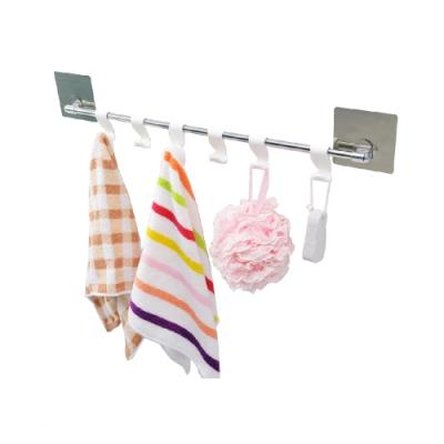 【FL生活+】60公分不銹鋼可調式廚房/衛浴吊掛架-無痕貼式(SQ-5044)
