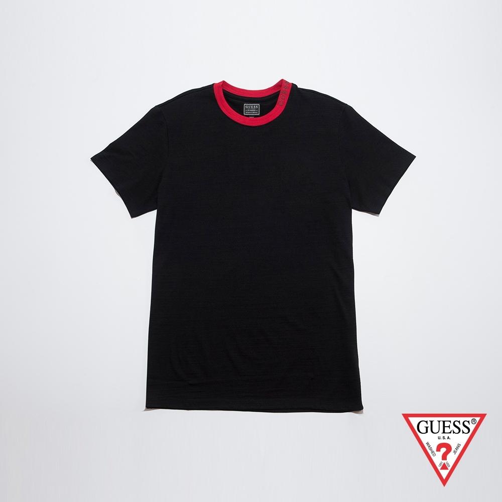 GUESS-男裝-簡約素色圓領短T-黑