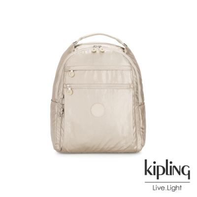 Kipling 星光流沙金多袋實用後背包-MICAH