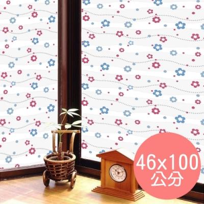 ★促銷★〔日本MEIWA〕抗UV靜電3D窗貼 (亮彩花瓣)46x100公分