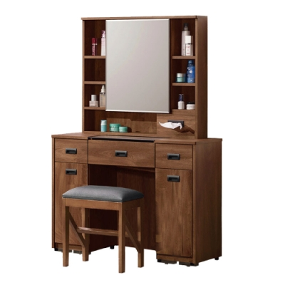 文創集 納波德 現代3.2尺開合式鏡台/化妝台組合(含化妝椅)-97x40x154cm免組