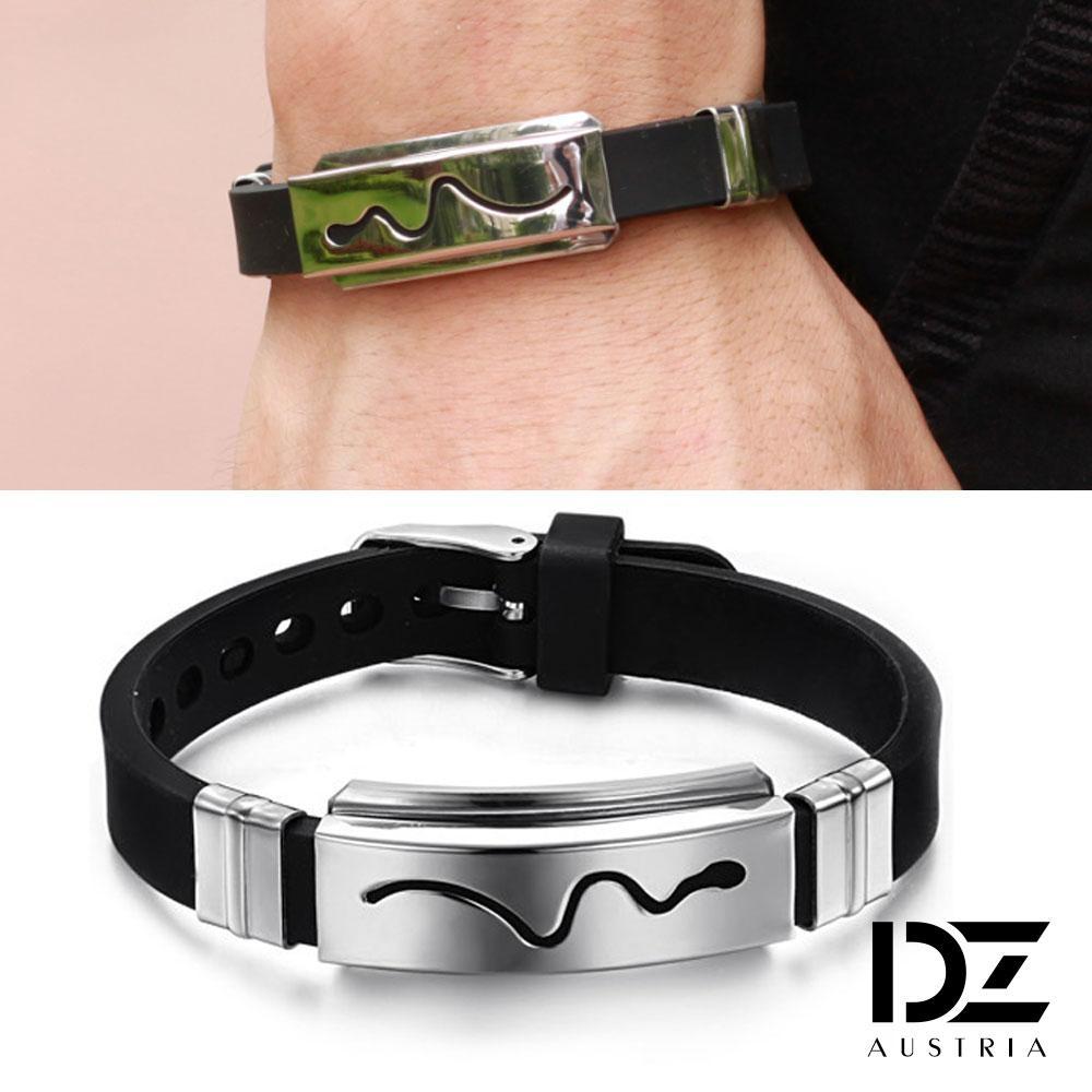 DZ 靈蛇流線 316L白鋼矽膠手環(黑銀系)