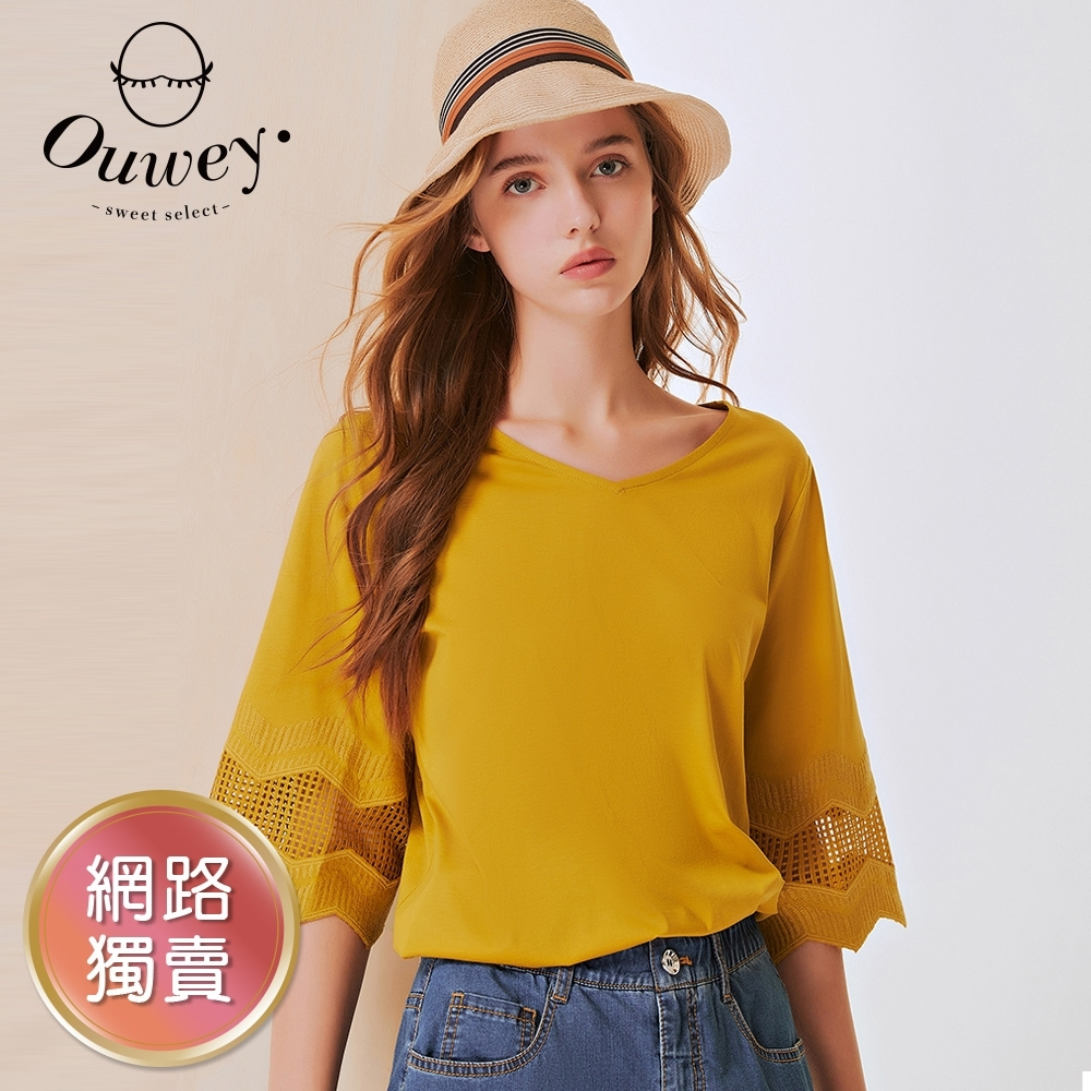 OUWEY歐薇 典雅之美純棉縷空拼接五分袖上衣(黃/淺藍/深藍)3212161204
