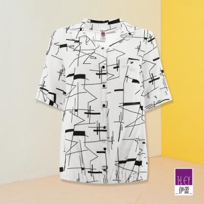 ILEY伊蕾 幾何線條鬆緊下擺假門襟襯衫(白)