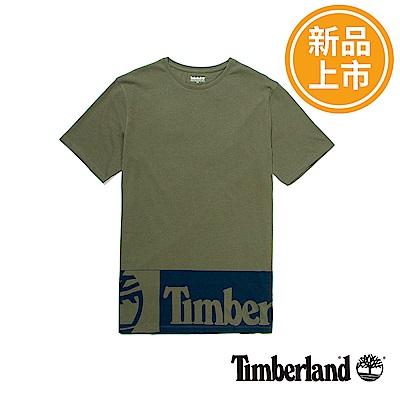 Timberland 男款墨綠色LOGO長版短袖T恤
