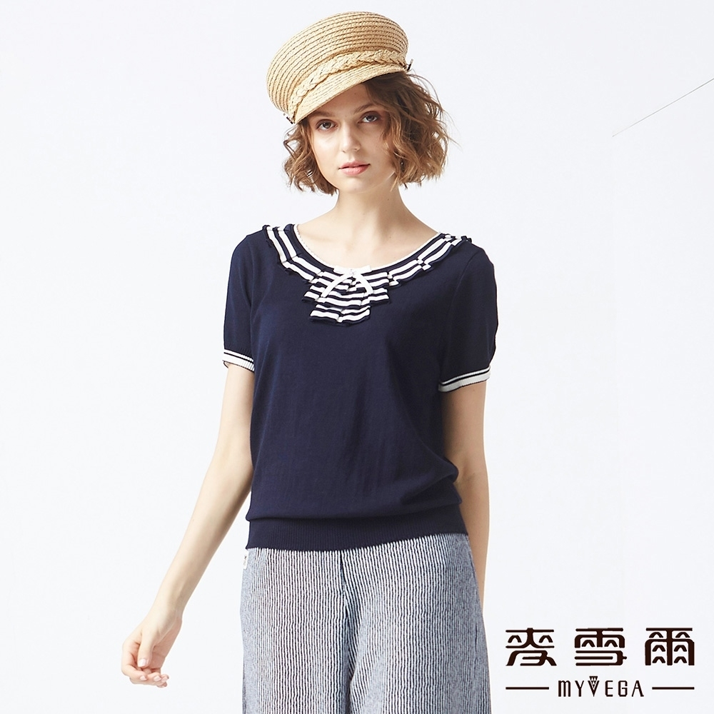 MYVEGA麥雪爾 甜美公主針織衫-藍