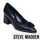 STEVE MADDEN BERNIE 經典微復古 圓扣真皮中跟鞋 黑色 product thumbnail 1