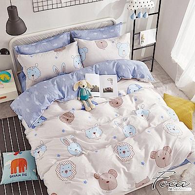 FOCA森林蜜語-單人-100%精梳純棉三件式兩用被床包組