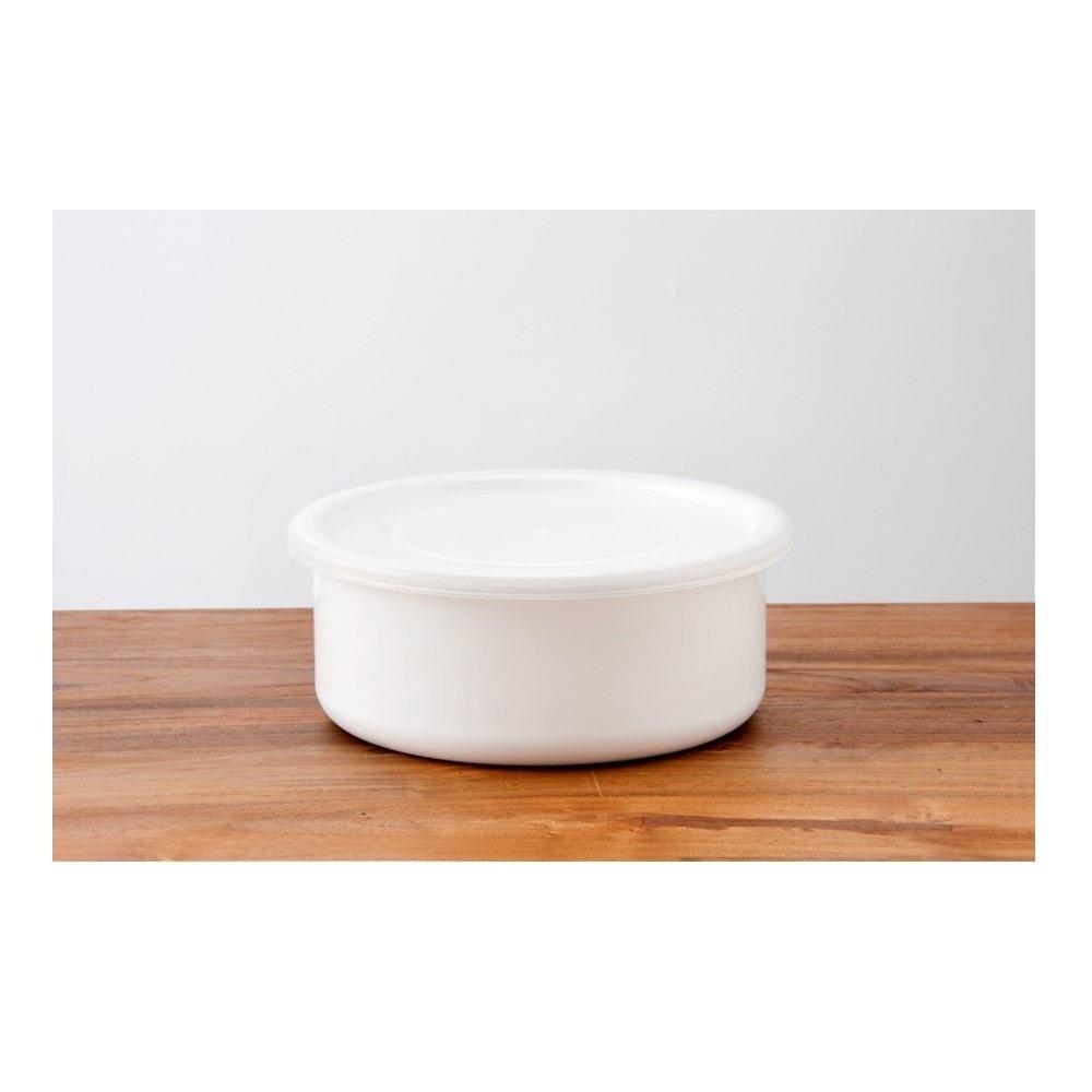 日本[野田琺瑯] 圓型保存盒附透明蓋 12cm