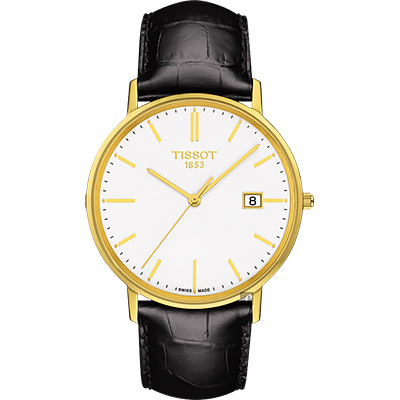 TISSOT天梭 18K金 Goldrun 石英錶-白x黑/38mm @ Y!購物