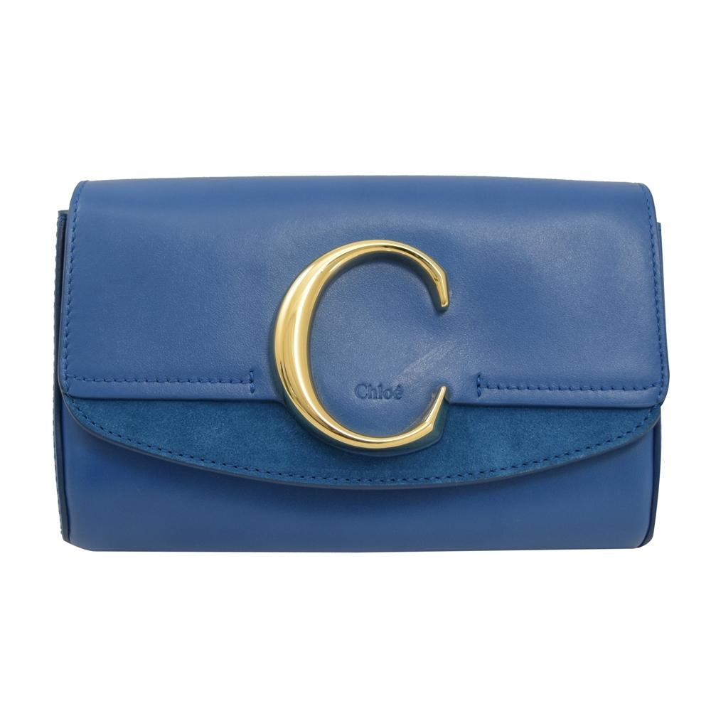 CHLOE C Bag系列牛皮拼接造型腰包(藍)