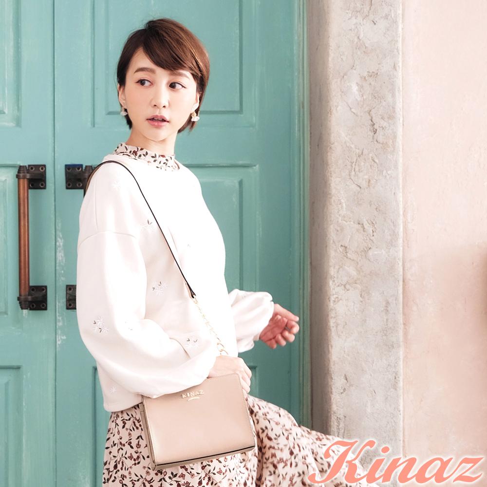 KINAZ 玫瑰花園鏈帶斜背包-紗裙粉-浪漫舞曲系列