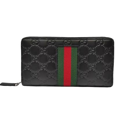 GUCCI 經典Signature系列GG壓紋綠紅綠織帶拉鍊長夾(黑色)