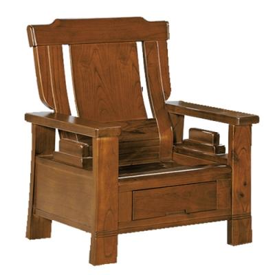 綠活居 魯普典雅風實木抽屜單人座沙發椅(單抽屜設置)-77x88x104cm免組