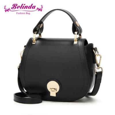 【Belinda】貝芙爾馬鞍圓扣手提側背包(黑色)
