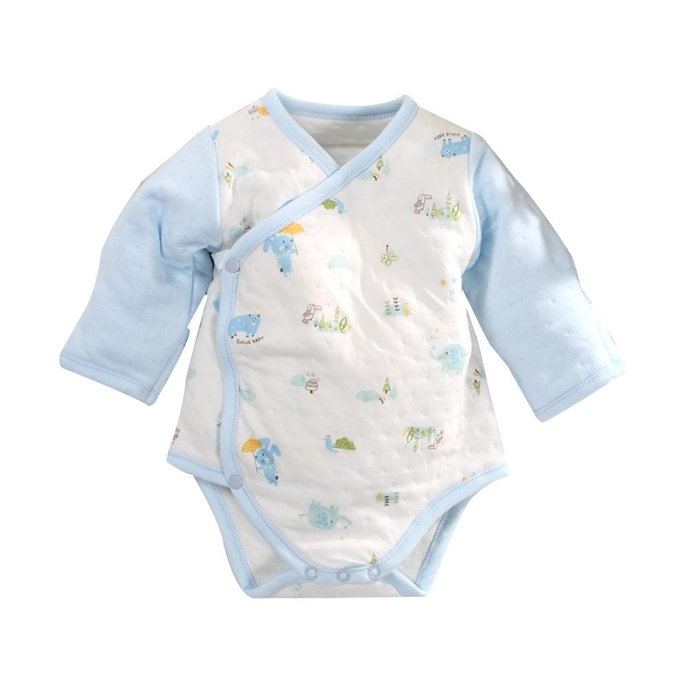 台灣製三層棉厚純棉護手連身衣 b0216 魔法Baby