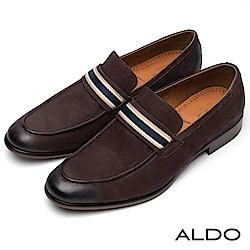 ALDO 真皮佐條紋釦帶尖頭男樂福鞋~深咖啡色