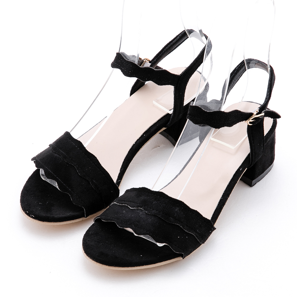 River&Moon大尺碼涼鞋 細絨一字波浪紋粗跟涼鞋 黑