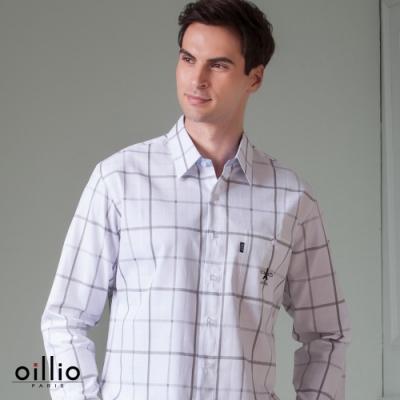 oillio歐洲貴族 男裝 長袖純棉透氣格紋襯衫 簡約有型 立體剪裁 鐵塔刺繡 休閒商務 四季皆適穿 白色