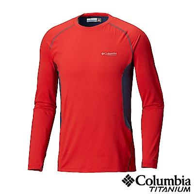 Columbia哥倫比亞 男款-鈦Omni-HEAT 3D 保暖快排長袖上衣-紅色