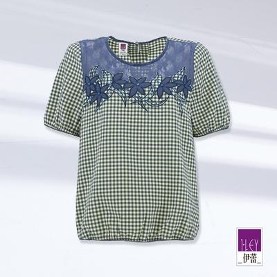 ILEY伊蕾 休閒縷空繩股蕾絲拼接格紋刺繡上衣(藍)1212021063