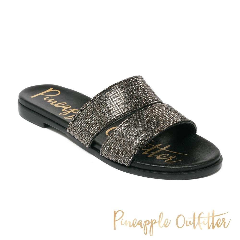 Pineapple Outfitter-RUTH 氣質水鑽寬帶拖鞋-黑色