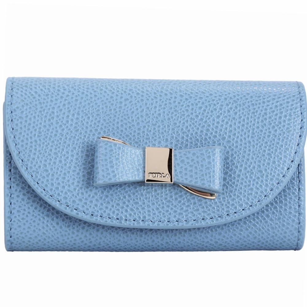 FURLA Asia 雙材質蝴蝶結牛皮鑰匙包(雲藍色) @ Y!購物