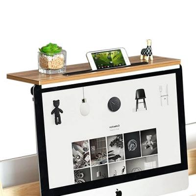 加大電腦螢幕上方置物架 (辦公室桌面整理架/電腦桌顯示器增高架/機上盒電視盒架/掛架收納支架遙控器架)