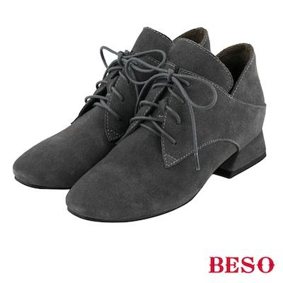 BESO 簡約知性 全真皮綁帶蝴蝶結粗跟方頭踝靴~灰