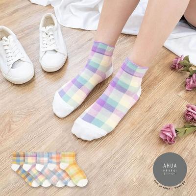 阿華有事嗎  韓國襪子  粉嫩拼色格紋中短襪 韓妞必備 正韓百搭純棉襪