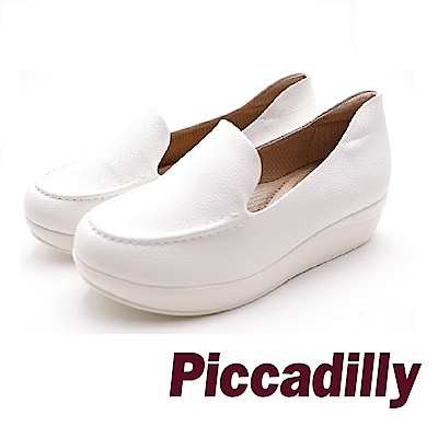 Piccadilly 慵懶氛圍 革質直套懶人厚底女鞋- 白 (另有黑)