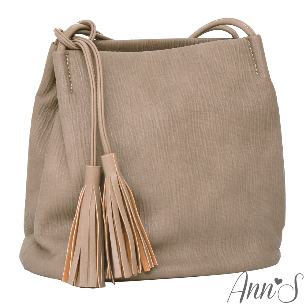 Ann'S文青植物紋皮革氣質流蘇肩背包-杏